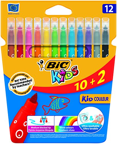 BIC Colouring Pens, Rotuladores Punta Media, 12 rotuladores, Multicolor