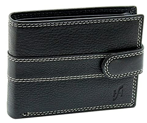 StarHide® Men's Designer Luxury High Quality Black Leather Tri-fold Wallet