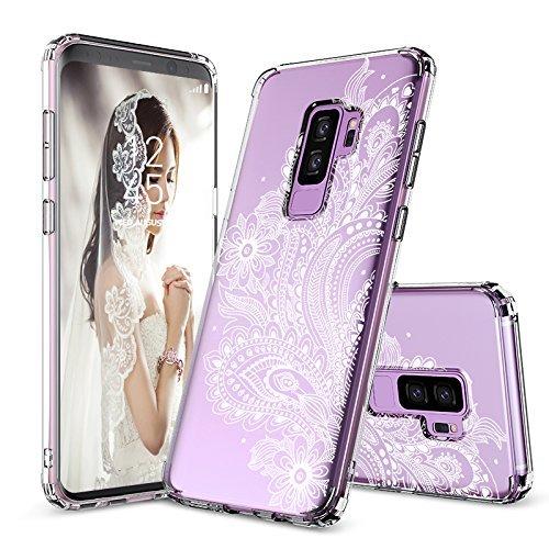 MOSNOVO Galaxy S9 Plus Hülle, Paisley Henna Blumen Weiß Muster TPU Rahmen mit Hart Plastik Hülle Durchsichtig Schutzhülle Transparent für Samsung Galaxy S9 Plus (2018) (Paisley Floral)