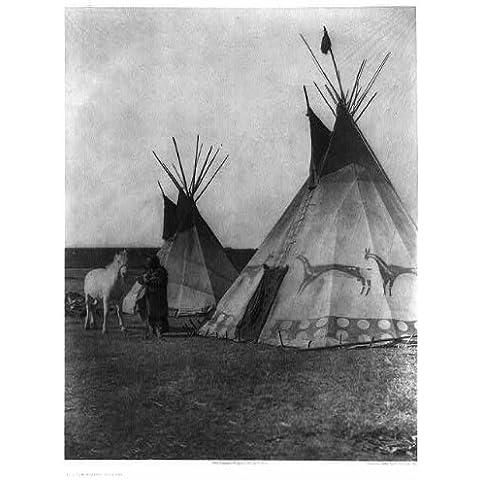 Foto: Blackfoot propinaestá, tipi, c1926, indio, caballo blanco, nativo americano, Edward S Curtis