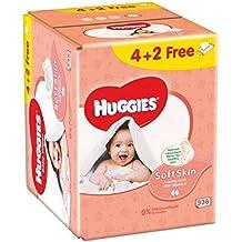 HUGGIES Lingettes Bébé Soft Skin Enrichies Vitamine E 4+ 2 Gratuite - 6x56 Lingettes