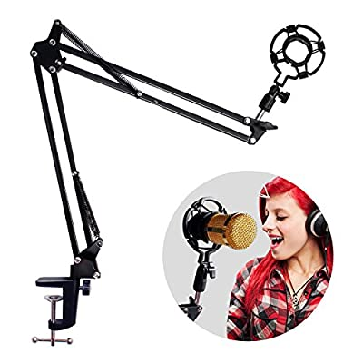 Eastshining Upgraded Microphone Arm Stand Adjustable Desktop Fold Mic Suspension Boom Compatible with Blue Yeti Microphone Scissor Arm Holder With Shock Mount Clip for Studio Broadcast and Recording