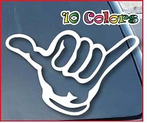 Autocollants/autocollant pour voiture JDM la rigide–Hang Loose Shaka Car Window vinyle Decal Stickers 177mm Wide (Color:...