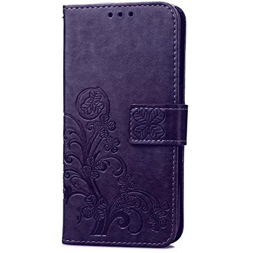 Wkae Case Cover MEIZU Meilan 3s Fall, Solid Color Premium-TPU PU-Leder-Kasten, Schlag-Standplatz-Mappen-Kasten-Blumen-Geprägte Fall Lucky Clover-Muster-Fall für MEIZU Meilan 3s ( Color : Purple , Size Purple