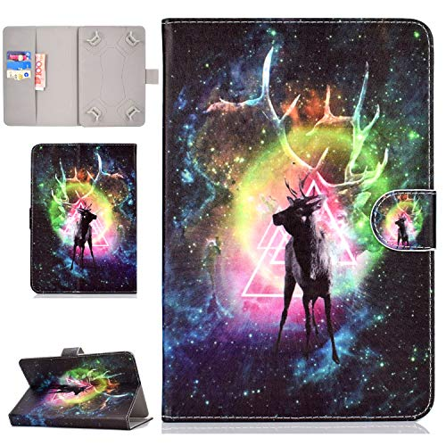 "YKTO Schön Hülle Universal 8 Zoll Tablet Magnetisch Schutz Bunte Handytasche iPad Mini 1/2/3/4,Samsung Galaxy Tab A/4/S2 8.0, Lenovo Tab 4 8 Plus, Huawei MediaPad M2 8.0 Alle 7.5\""-8.5\"" Tab Hirsch"