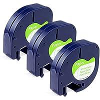 Compatible Cinta Dymo Letratag, 3x Reemplazar Dymo LetraTag Etiquetas autoadhesivas de papel, Compatible Dymo