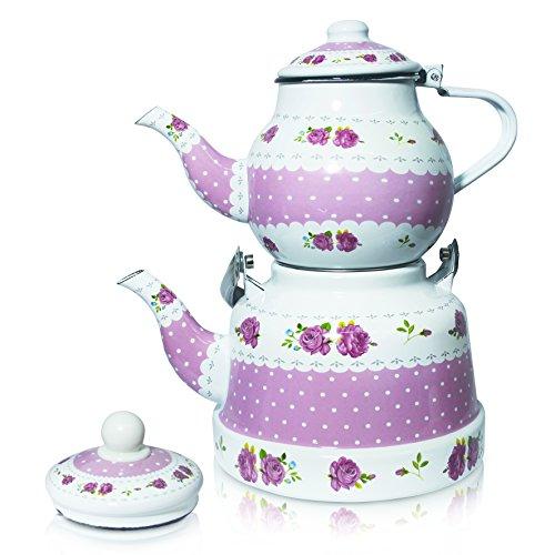 Emaille Teekannen Set rosa-weiß