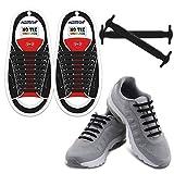 Homar No Tie Lacets pour les Enfants et Adultes - Imperméable Silicone Flat Élastique Lacets de Sport pour Sneaker Bottes Chaussures de Conseil et Chaussures Décontractées - Noir
