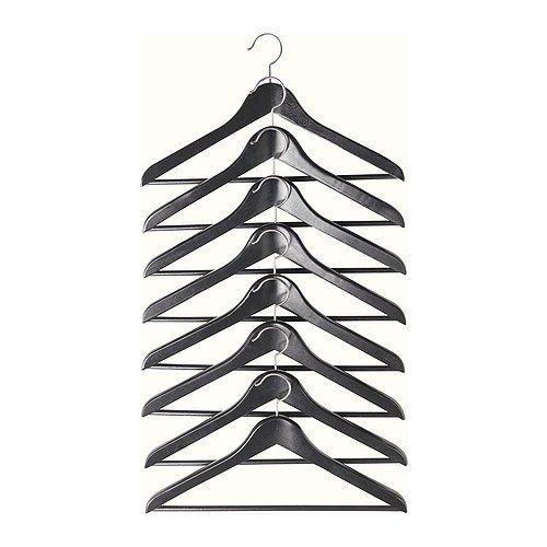 2 XIKEA Holzkleiderbügel 'Bumerang' 8-er Pack Bügel aus massivem Holz in SCHWARZ