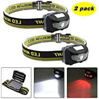 Blinkle Head Torch Ultra Bright Headlamps CREE LED 4 Modes Headlamp with Red Headlight Waterproof AAA Battery Powered for Running Camping Reading DIY