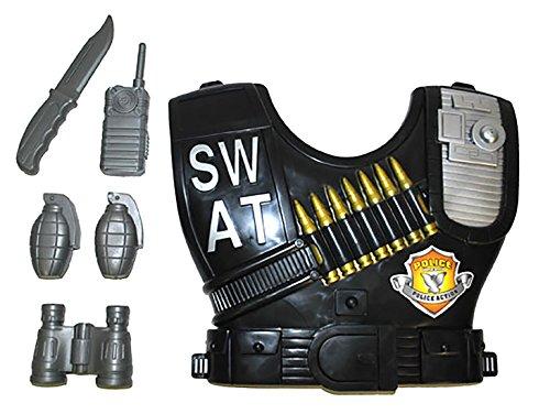 erdbeerclown - SWAT Kostüm Weste mit Accessoire Set- Waffe Wurfmaterial Handy Fernglas, Mehrfarbig (Csi Kostüm Weste)