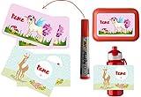 wolga-kreativ Set 4 Aufkleber und Permanentmarker wasserfest Pferd Einhorn für Brotdose oder Trinkflasche Namensaufkleber