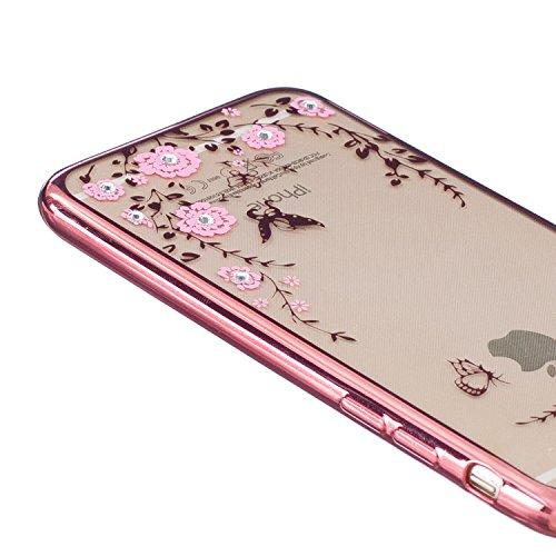 NEWSTARS Coque de protection en plastique double couche avec support Motif pneu Bonne prise Pour Apple iPhone 66S 11,9cm + 1protection d'écran en verre trempé + 1stylet Rose A Rose Gold Pink