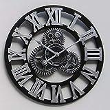 ZY&DD Römische Zahlen Leise Dekorative wanduhr,Treppe Getriebe Uhr,Antike wanduhr Rund um Klassische Uhr-B 40x40cm(16x16inch)