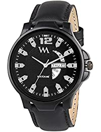 Watch Me Day And Date Collection Black Dial Black Leather Strap Watch For Men And Boys DDWM-003new DDWM-003newrto1