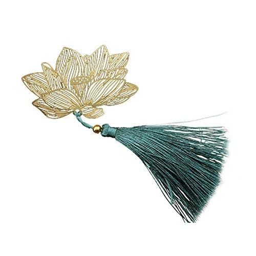 CAOLATOR Signet Cadeaux en Vedette Style Chinois Classique Cadeau d'Anniversaire Envoyé Un Cadeau à l'enseignant Le Ventilateur Creative Student Lotus Set Métal avec Un Gland Vert(Un à Vendre)