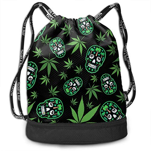 MLNHY Palm Tree Weed Sugar Skull Multifunctiona Drawstring Sport Backpack Foldable Sackpack