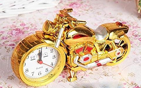 Réveil décoré voiture train jouet maquette Rétro Créatif Réveil , motorcycle (gold)