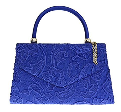 Girly HandBags Lace Satin Top Handle Clutch Bag Handbag Elegant Weeding Party Vintage Party Designer Inspired Womens Fashion -- Royal Blue