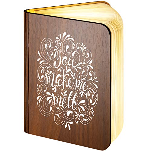 Pieghevole in legno magnetico lampada LED Book Featuring you make me melt design, Personalised Wooden Folding Magnetic Led Book Lamp, large 5.00volts