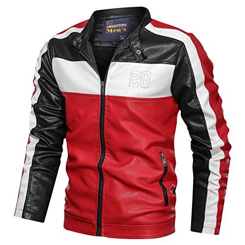 GQDP Jacke Kragen Kragen Lederjacke Jugend Slim Fit Farbe Leder Herren