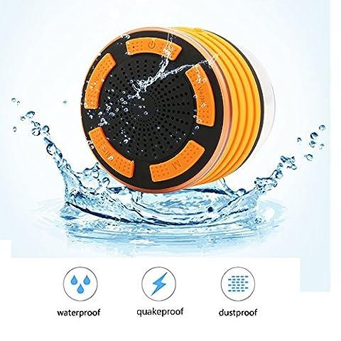 Cusfull 5W IPX7 ÉTanche Enceintre portable Bluetooth Douche Ventouse sans fil Haut-Parleur Stéréo Waterproof avec LED Lumière Anti-choc Anti-poussière pour iOS Android(Orange et Noir)