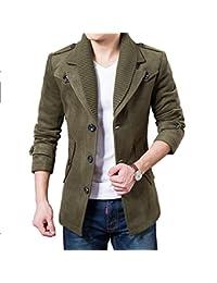DeLamode Männer Woolen Fleece lange Jacke stricken Winter Epaulet warme  Mantel 89ccd14c40