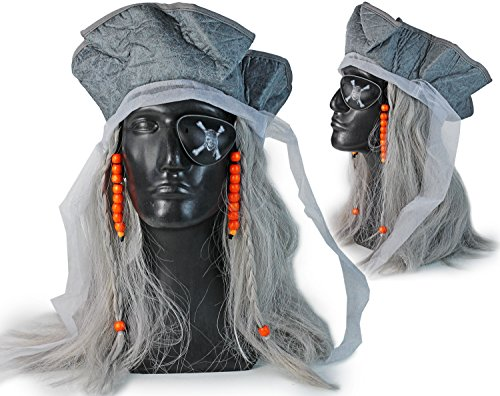 Hochwertige Fasching Piraten-Kostüm Geist Perücke mit Perlen Piraten-Hut Haare (Geist Perücke)