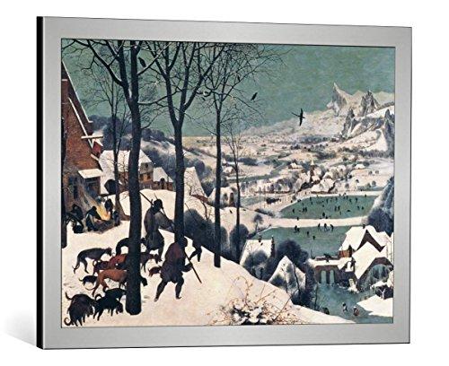 Kunst für Alle Image encadrée: Pieter Brueghel der Ältere Hunters in The Snow - January 1565' - Impression d'art décorative, en Cadre de Haute qualité, 70x50 cm, Argent Brossé