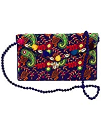 Embroidered Mirror Design Envelope Clutch/Sling Bag With Multi-Color Pom-Pom