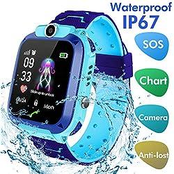 Jaybest Reloj Inteligente Smartwatch para niños, rastreador de ubicación LBS, Reloj del teléfono, Reloj de cámara, Chat de Voz, Llamadas telefónicas (Azul)