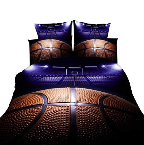 Bettbezug, bequem, Basketball, einfache Mikrofaser, 100% Baumwolle, gesteppt, 3 Sets (Farbe: Basketball, Größe: 200 x 200 cm) (Schlafzimmer-sets Königin)