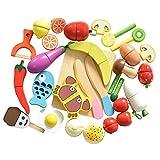HOWADE Juego de Alimentos Play 30 Piezas, Alimentos de Corte de Madera...