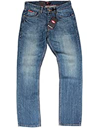 Lee Cooper Basicon Mid Wash Straight Leg para hombre azul Jeans