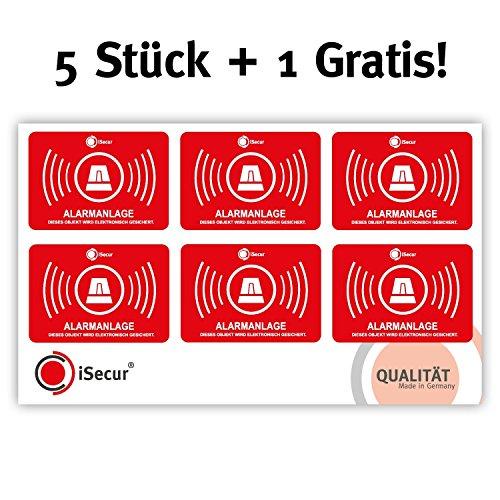 """5 Stück Aufkleber """"Alarm"""", iSecur, alarmgesichert, 50x35mm, Art. hin_047_5er_außen, Hinweis auf Alarmanlage, außenklebend für Fensterscheiben, Haus, Auto, LKW, Baumaschinen"""