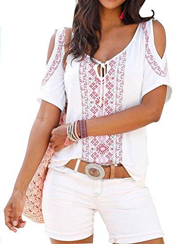 Damen T-Shirt: Jusfitsu Damen Sommer Shirt Kurzarm Schulterfrei Casual Tunika T-Shirt Tops