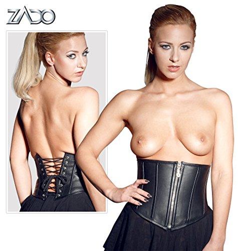 ZADO Leder Korsett kurz, 76 cm, schwarz, 1 Stück (Korsett Leder-taillenkorsett)