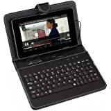 "UniversalGadgets Leather Case - Funda para tablets de 7"" (incluye teclado, USB), negro [Importado]"