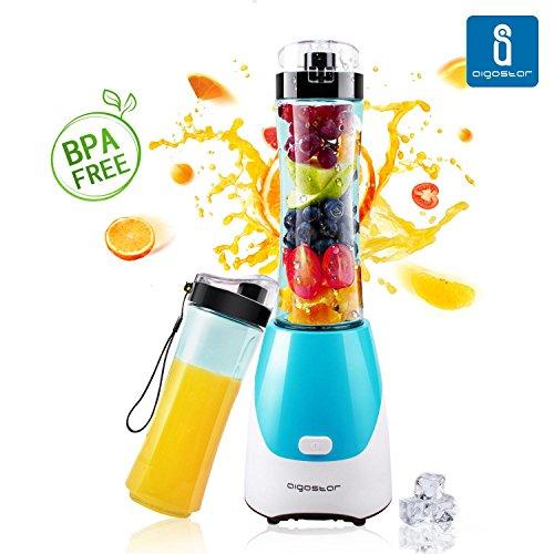 Aigostar Sky 30IWX – Mixeur portable pour smoothies, milk-shake et jus de fruits. Couleur bleu. Sans BPA. Puissance de 300 W. Inclus 2 verres de 600 ml et 2 couvercles.
