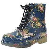 Popoye Damen Transparente Wasserdichte Gummistiefel Regenschuhe Runde Zehe Martin Regenschuhe, Blau - Blaue Blume - Größe: 39 1/3