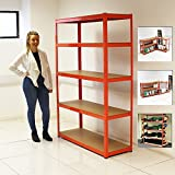 ELEPHANT® 120CM EXTRA WIDE HEAVY DUTY 5 TIER SHELF SHELVING UNITS GARAGE STORAGE RACKING SHED OFFICE