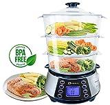 NaturoPure Food Steamer 11.5L Capacity, 3 Tier BPA Free Electric Steamer, 6 Preset