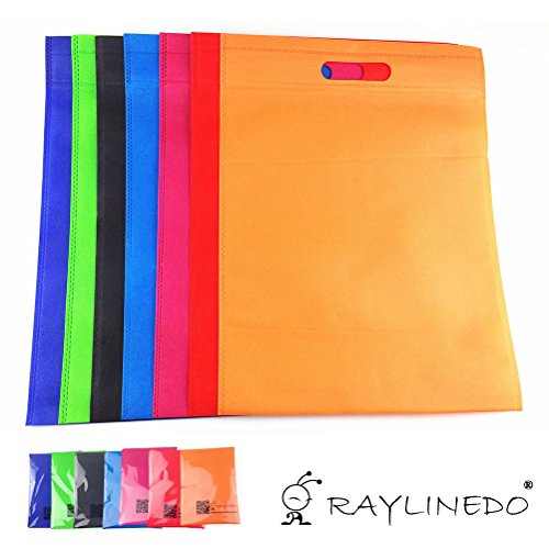 RayLineDo-Shopping-Non-Woven-Bags-Reusable-Grocery-Shopping-Tote-Bags-Convenient-Handy-Bags-Shopping-Travel-Bags-Random-Color-8-PACK