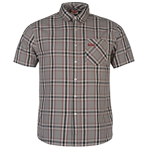 Lee Cooper Uomo Hoxton Camicia a Quadri Cotone Bottoni Manica Corta con Colletto Grigio Large