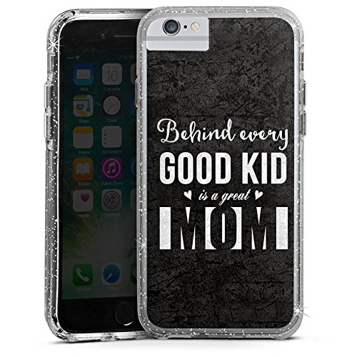 Apple iPhone 6 Plus Bumper Hülle Bumper Case Glitzer Hülle Saying Sie Mama Bumper Case Glitzer silber