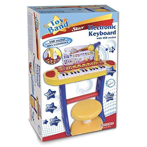 Bontempi 13324231-key tastiera elettronica con microfono/gambe/sgabello/usb portatile per flash drive