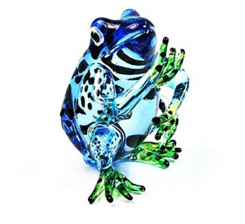 LampworkSAMMLERSTÜCKMiniaturMUNDGEBLASENEGlaskunstFrosch,blauFigur (Frosch-sammler Figur)