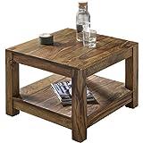 Wohnling Couchtisch Massiv-Holz Sheesham 60 x 60 cm Wohnzimmer-Tisch Design Landhaus-Stil Beistelltisch Natur-Produkt Wohnzimmermöbel Unikat modern Massivholzmöbel Echtholz rechteckig dunkel-braun