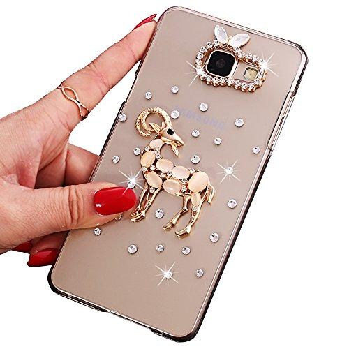 Sunroyal® Ultra Sottile Bling Duro Back Custodia per Samsung Galaxy A5 (2016) A510F, 3D Transparente Chiaro Glitter Diamanti Case Cover Posteriore Telefono Protector (Cervi cristallo)