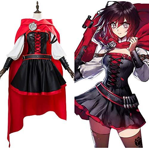 DuHLi RWBY 3 Ruby Rose Cosplay Battler Kleid Cosplay Kostüm Erwachsene Frauen Mädchen Mantel Halloween Karneval Kostüme,L (High End Für Erwachsene Kostüm)